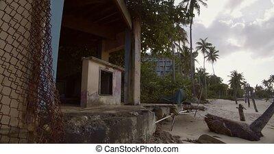 ouragan, dévasté, abîmer, abandonnés, plage, moule, travers...