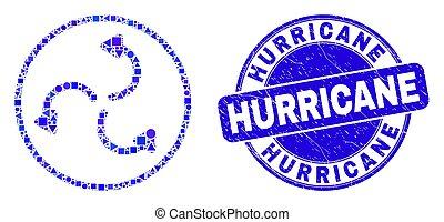 ouragan, grunge, cyclone, flèches, bleu, cachet, mosaïque