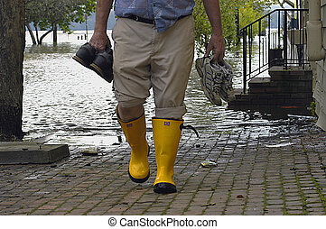 ouragan, inondé, rue