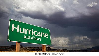 ouragan, juste, devant, vert, panneaux signalisations, et, orageux, nuages