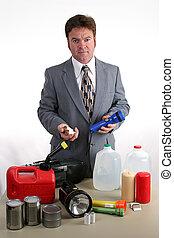 ouragan, kit, -, lampe électrique