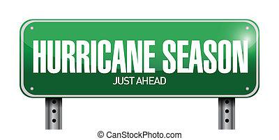 ouragan, saison, juste, devant, route