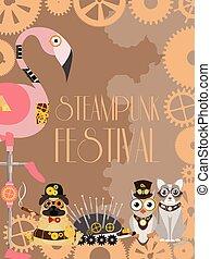 ouriço, decorativo, fantástico, flamingo, festival., cartaz, quadro, metal, estilo, coruja, ou, gravura, vetorial, engrenagens, animal, steampunk, ilustrações, partido, pistols.