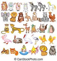 ouriço, garça, cabra, jogo, animais, sheep, vaca, leão, porca, cão, ilustração, gato, canguru, lobo, elefante, onça pintada, zebra, caricatura