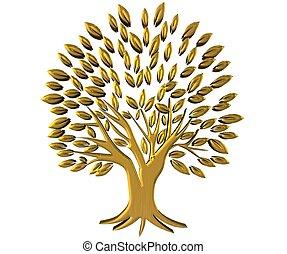 ouro, árvore, riqueza, símbolo, 3d, logotipo