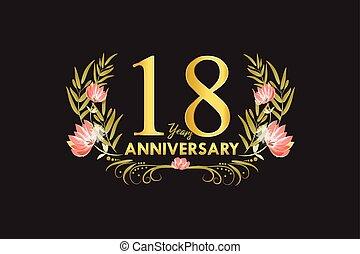 ouro, 18, grinalda, aniversário, ilustração, anos, aquarela