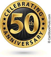 ouro, 50th, aniversário, ilustração, anos, celebrando, vetorial, etiqueta
