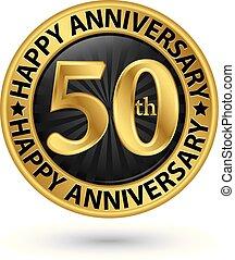 ouro, 50th, aniversário, ilustração, anos, vetorial, etiqueta, feliz