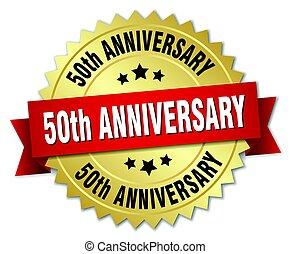 ouro, 50th, aniversário, isolado, emblema, redondo