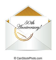 ouro, 50th, aniversário, letra, correio, feliz