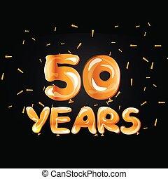 ouro, 50th, cartão cumprimento, aniversário