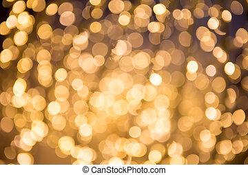 ouro, abstratos, bokeh, defocused, fundo, natal