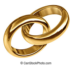 ouro, anéis, ligado, junto, casório