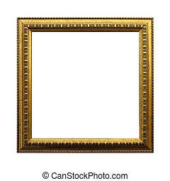 ouro, antigüidade, quadrado, quadro, isolado, branco, experiência., incluindo, caminho cortante