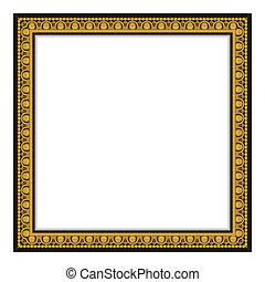 ouro, antigüidade, quadro, isolado, ligado, whit