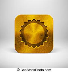 ouro, app, metal, textura, tecnologia, ícone