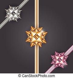 ouro, arco presente, fitas, prata, bronze