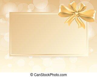 ouro, arco presente, ligado, cartão, notas, vetorial