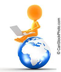 ouro, assento homem, ligado, globo, com, laptop