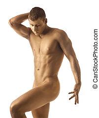 ouro, atlético, pelado, posar, pele, homem forte