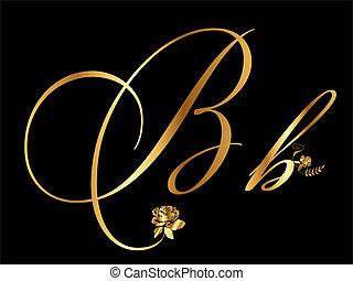 ouro, b, vetorial, letra