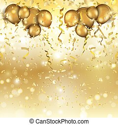 ouro, balões, e, confetti, fundo