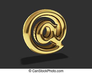 """ouro, balloon, """"at"""", símbolo., 3d"""