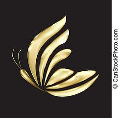 ouro, borboleta, luxo, logotipo, vetorial