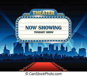 ouro, brilhantemente, teatro, glowing, retro, cinema, sinal néon, com, cidade, em, fundo