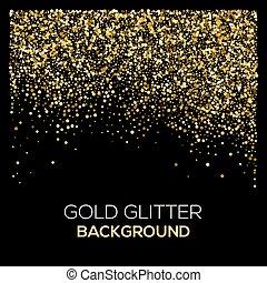 ouro, brilhar, experiência., confetti, pó, explosão, pretas, grainy, dourado, confetti., abstratos