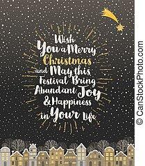 ouro, -, caligrafia, cartão, brilhar, saudação, snowbound, natal, tipo, inverno, cidade, desenho, sunburst