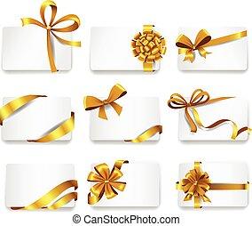 ouro, cartões, bonito, bows.