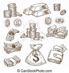 ouro, carteira, dinheiro, moedas, saco, ou