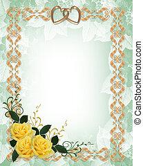 ouro, casório, rosas amarelas, convite, borda