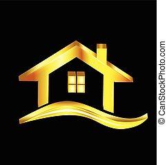 ouro, casa, logotipo