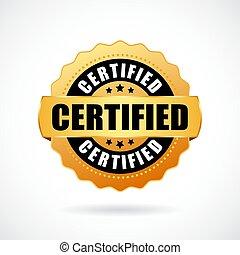 ouro, certificado, ícone, vetorial