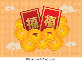 ouro, chinês, pacotes, ano, novo, moeda, vermelho