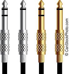 ouro, conector, vetorial, macaco, áudio, prata
