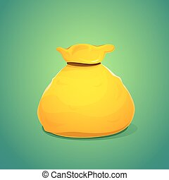 ouro, cor, ilustração, grande, saco, vetorial