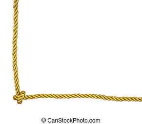 ouro, corda, quadro, canto, com, nó