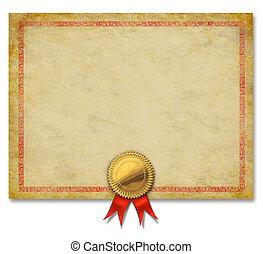 ouro, crista, fita, certificado, em branco
