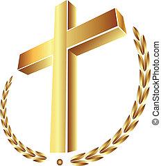 ouro, crucifixos, com, laurel