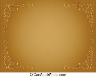 ouro, decorativo, ornamental, quadro, simples