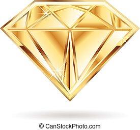 ouro, diamante, logo.