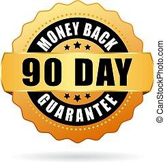 ouro, dinheiro, costas, 90, garantia, dia, ícone