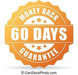 ouro, dinheiro, dias, costas, 60, ícone