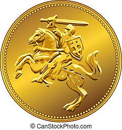 ouro, dinheiro, horseback, vetorial, cavaleiro, moeda, ...