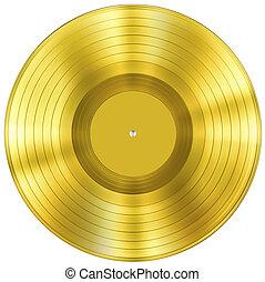 ouro, disco, música, distinção, isolado, branco