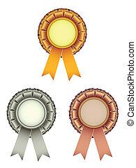 ouro, distinção, arco, vetorial, fitas, prata, bronze