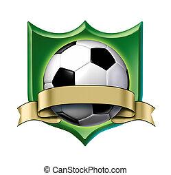 ouro, distinção, etiqueta, em branco, futebol, crista